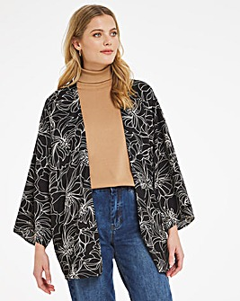 Linear Floral Print Woven Cover Up