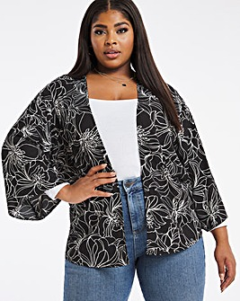 Black Floral Print Woven Cover Up