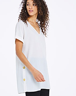 Ivory V-Neck Button Side Tunic