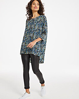 Blue Ditsy Dipped Back Cocoon Tunic
