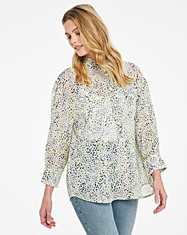 Yellow Print Oversized Slouchy Blouse