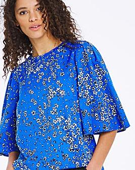Blue Floral Angel Sleeve Top