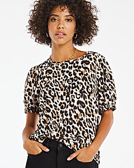 Leopard Print Puff Sleeve Boxy Top