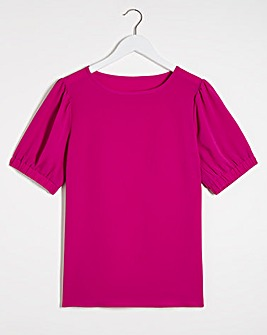Magenta Puff Sleeve Boxy Top