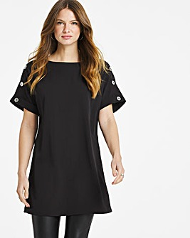 Black Longline Button Detail Boxy Top