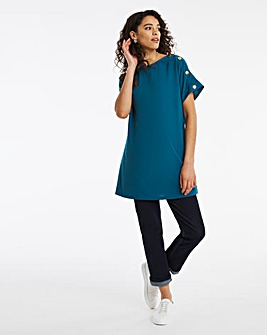 Teal Longline Button Detail Boxy Top