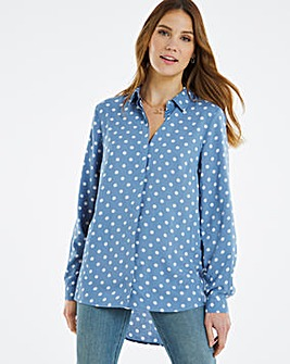 Blue Spot Dipped Back Viscose Shirt
