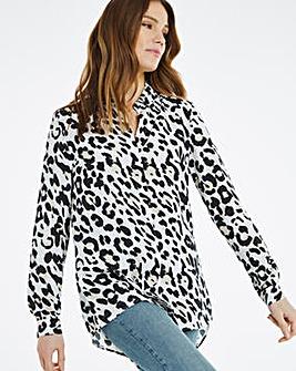 Leopard Print Dipped Back Viscose Shirt
