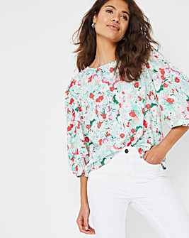 Green Print Puff Sleeve Top
