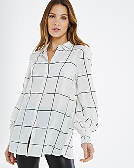 Olive Check Shirred Volume Sleeve Shirt