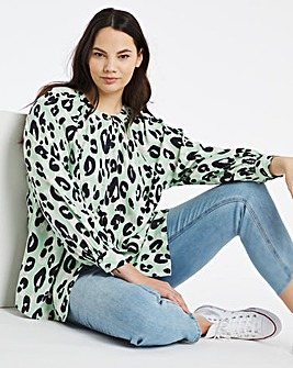 Mint Animal Viscose Collarless Blouse