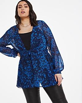 Blue Print Tie Front Kimono