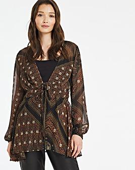 Scarf Print Woven Kimono