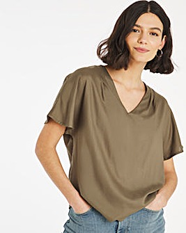 Olive Gathered Shoulder Woven T-Shirt