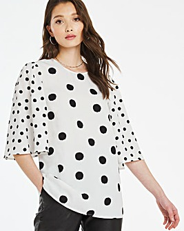 Black Spot Print Angel Sleeve Top