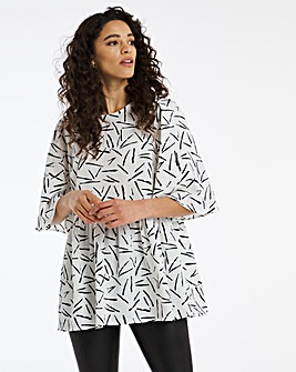 Mono Print Angel Sleeve Top