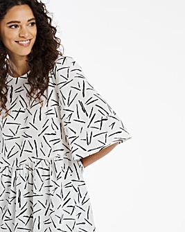 Mono Print Angel Sleeve Top
