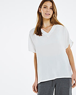 Ivory Gathered Shoulder Viscose Woven T-Shirt
