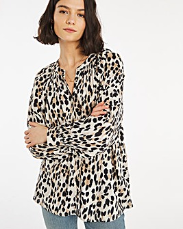 Leopard Print Viscose Collarless Blouse