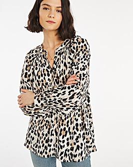 Leopard Print Viscose Collarless Blouse