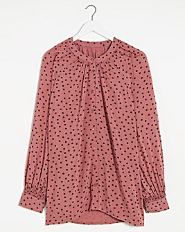 Spot Print Viscose Collarless Blouse