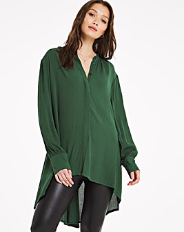 Bottle Green Dip Back Crinkle Shirt