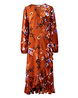 Junarose Floral Wrap Frill Maxi Dress