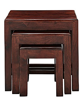 Jaipur Acacia Wood Nest of 3 Tables