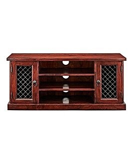 Jaipur Ready Assembled Solid Acacia Wood Wide TV Cabinet