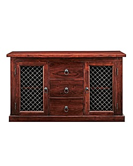 Jaipur Ready Assembled Solid Acacia Wood Large 2 Door 3 Drawer Sideboard