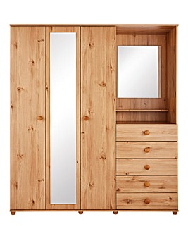 Aspen 3 Door 5 Drawer Mirrored Combi Wardrobe