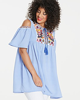 Ax Paris Stripe Embroidered Tunic