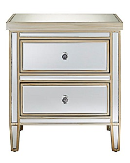 Perla Assembled Mirror 2 Drawer Bedside