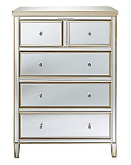Perla Ready Assembled Mirrored 3+2 Drawer Chest