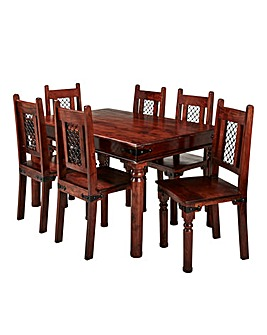 Jaipur Acacia Dining Table 6 Chairs