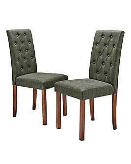 Grace Fabric Pair of Dining Chairs