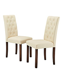Grace Faux Leather Pair of Dining Chairs