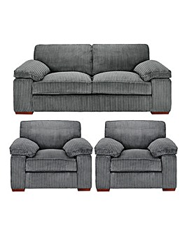 Mirah Jumbo Cord 3 Seater plus 2 Chairs