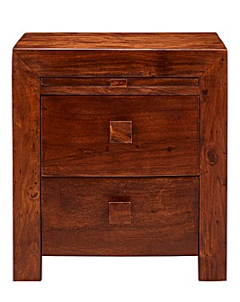Java Solid Acacia 2 Drw Bedside Table
