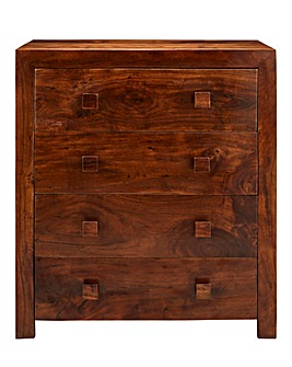 Java Solid Acacia 4 Drawer Chest