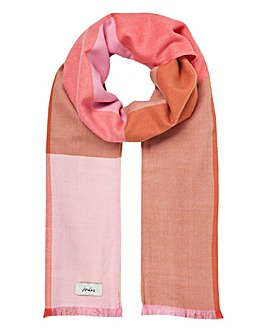 Joules Bridey Pink White Check Scarf