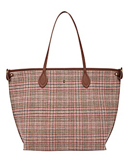 Joules Fulbrook Tote Pink Tweed Check