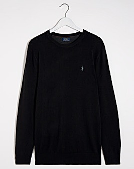Polo Ralph Lauren Black Merino Wool Crew Neck Jumper