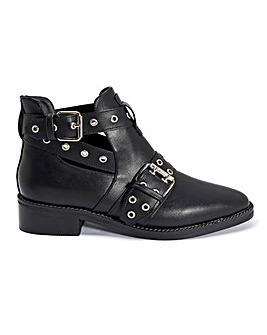 Buckle Cut Out Ankle Boots Standard Fit