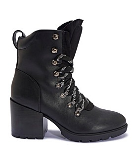 Block Heel Lace Up Boots Standard Fit