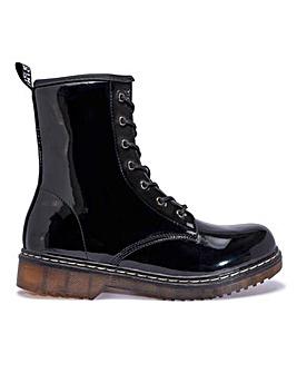 Lace Up Black Patent Boots Standard Fit