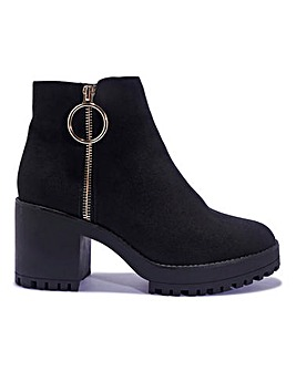 Zip Detail Cleated Boots Standard Fit