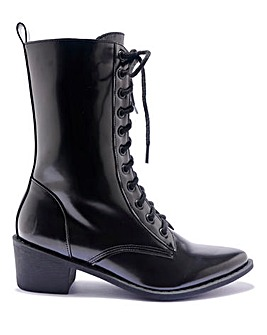 Lace Up Low Heel Boots Standard Fit