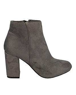 Grey Block Heel Boots Standard Fit