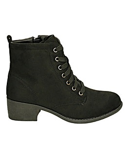 Low Heel Lace Up Ankle Boot Standard Fit